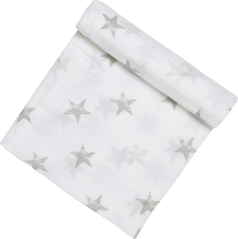 Couverture B/éb/é en 100/% Mousseline de Coton Blanc et Gris Maxi-lange pour Fille et Gar/çon Adapt/ée pour les Nouveaux-n/és anais 112x112 cm Douce et Confortable aden