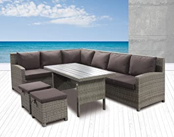 Polyrattan 6tlg Speiselounge Alba Gartenmöbel Set Lounge Eckbank