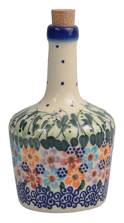 Botella de aceite de oliva o vinagre de cerámica polaco Pottery, hecho a mano tradicional 170 ml, Boleslawiec estilo patrón, v.501 Daisy Collection: ...