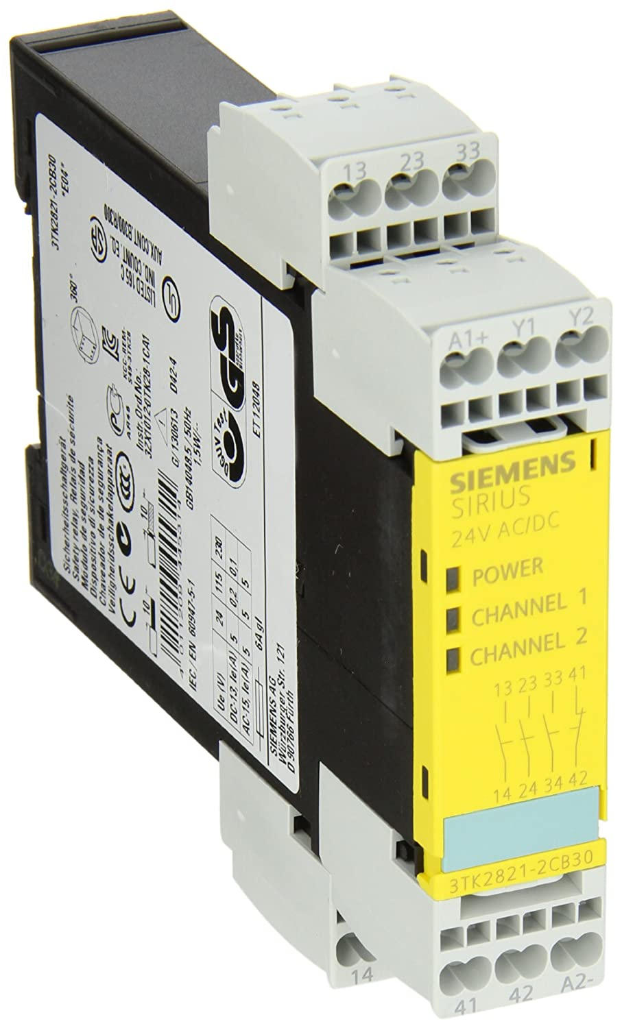 Siemens 3tk28 21 2cb30 Safety Relay For Emergency Stop And No Nc Contacts Of Protective Doors Autostart Spring Loaded Terminals 225mm Width 3 Enabling 1