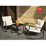 Moana Outdoor 3-piece Rocking Wicker Bistro Set, Two Chairs and One Glass Coffee Table, Black Wicker Furniture(White Cushion)