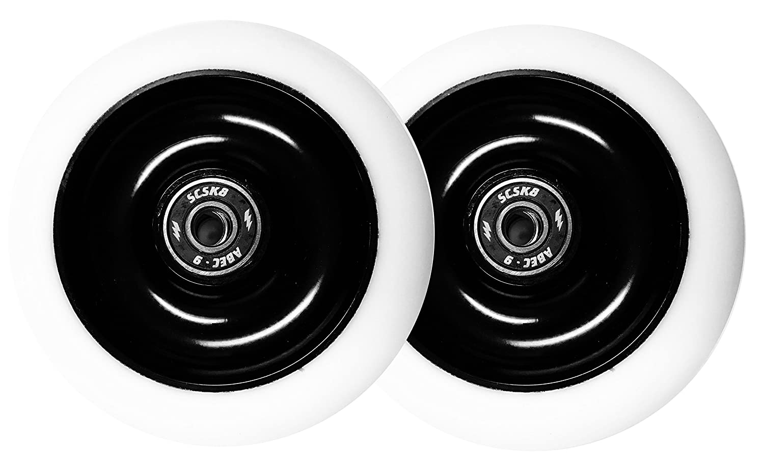 100mm Pro White Scooter Wheel Solid Black Aluminum Hub With SCSK8 Abec 9 Bearings Set