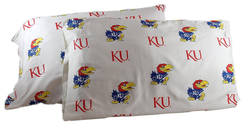 College Covers Kansas Jayhawks Pillowcase Pair Standard White