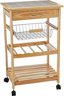 Organize It All Natural Pinewood Multi Purpose Mobile Kitchen Cart