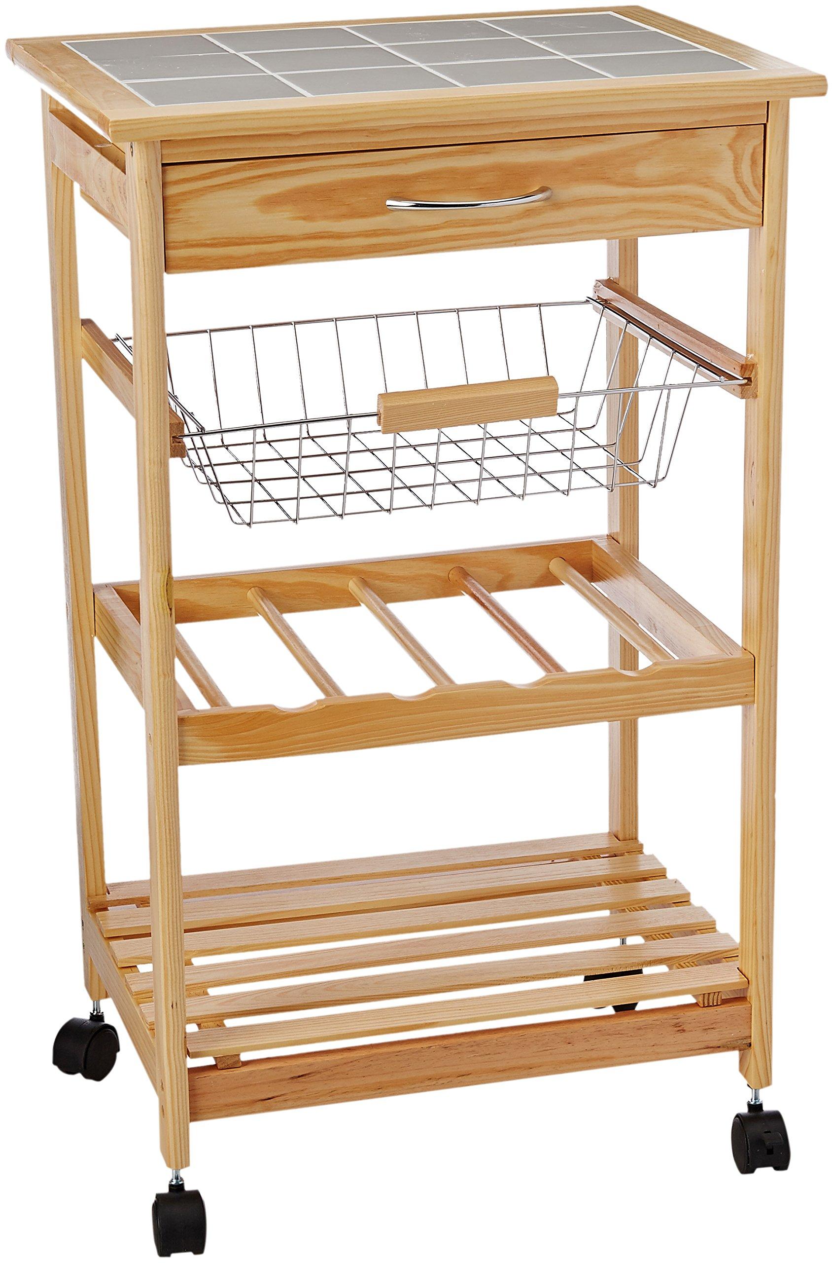 Organize It All Natural Pinewood Multi-Purpose Mobile Kitchen Cart