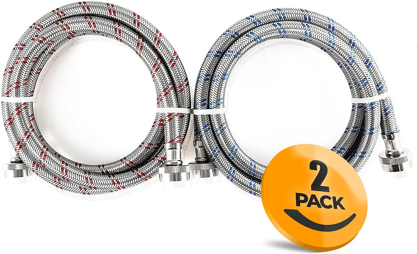 2-Pack Stainless Steel Washing Machine Hoses Burst Proof