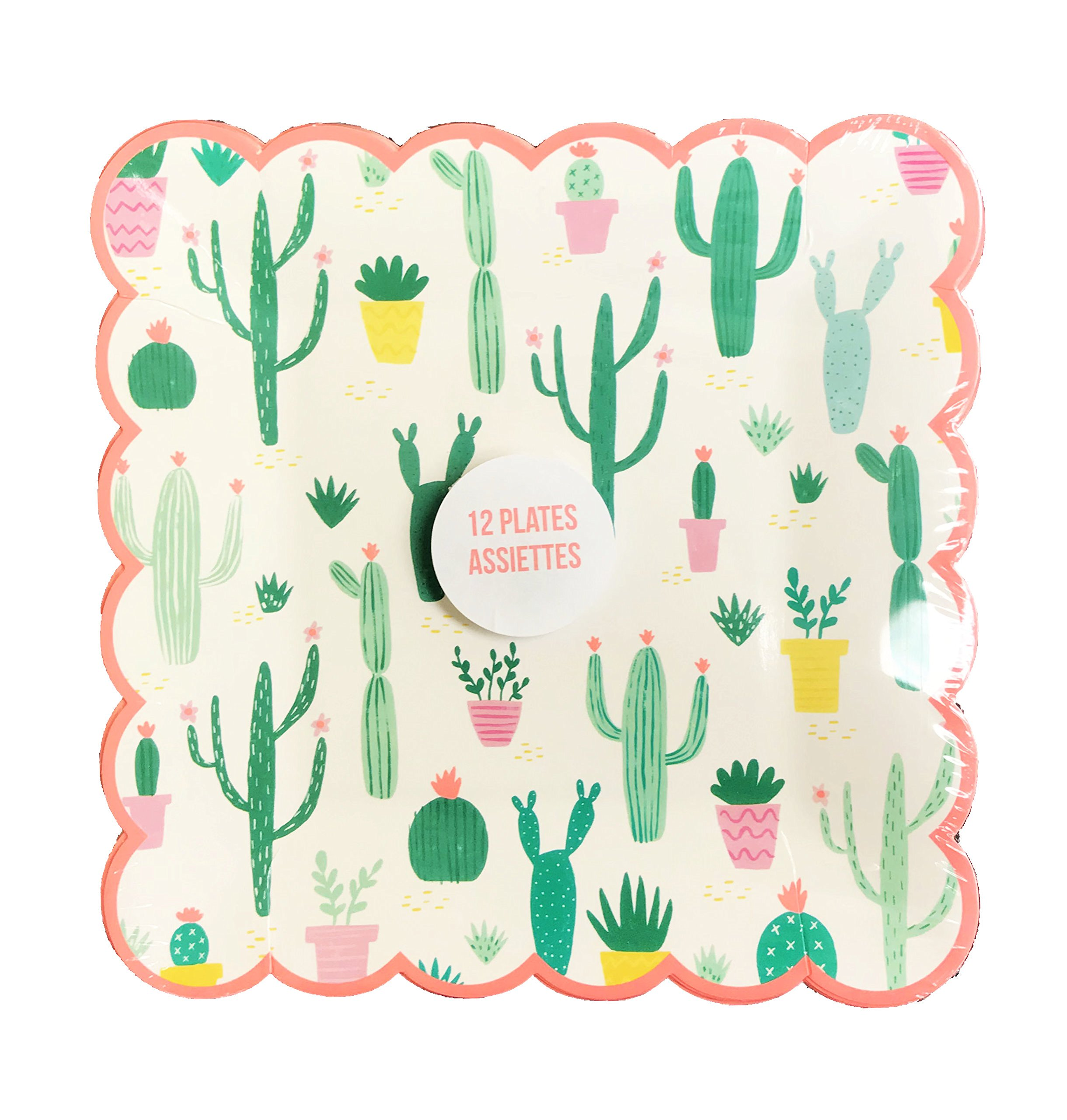 Whimsical Southwest Cacti Themed Scalloped Edge Square Novelty Paper Party Plates (9 x 9) by Meri Meri