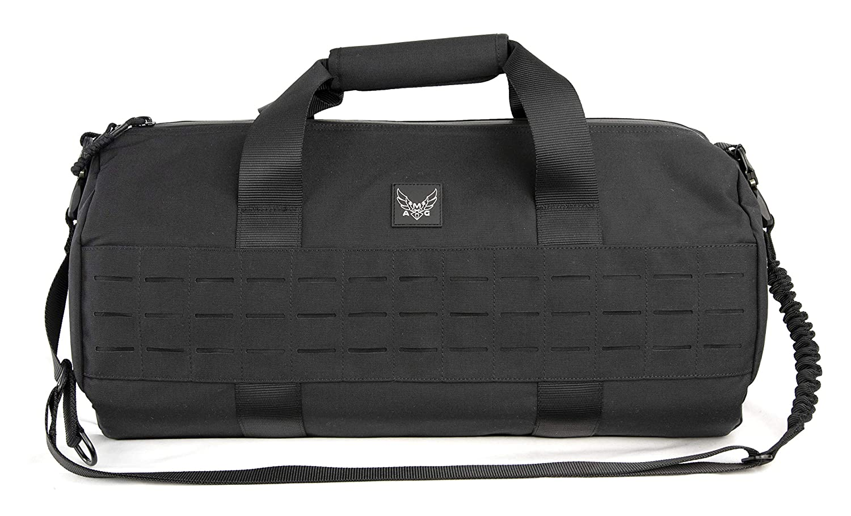 AMG, Fusion UnisexAdult AMG Peruga Medium Military Inspired Duffle Bag with Lazer Cut MOLLE Black CDB14M0106D218, BLK, Medium