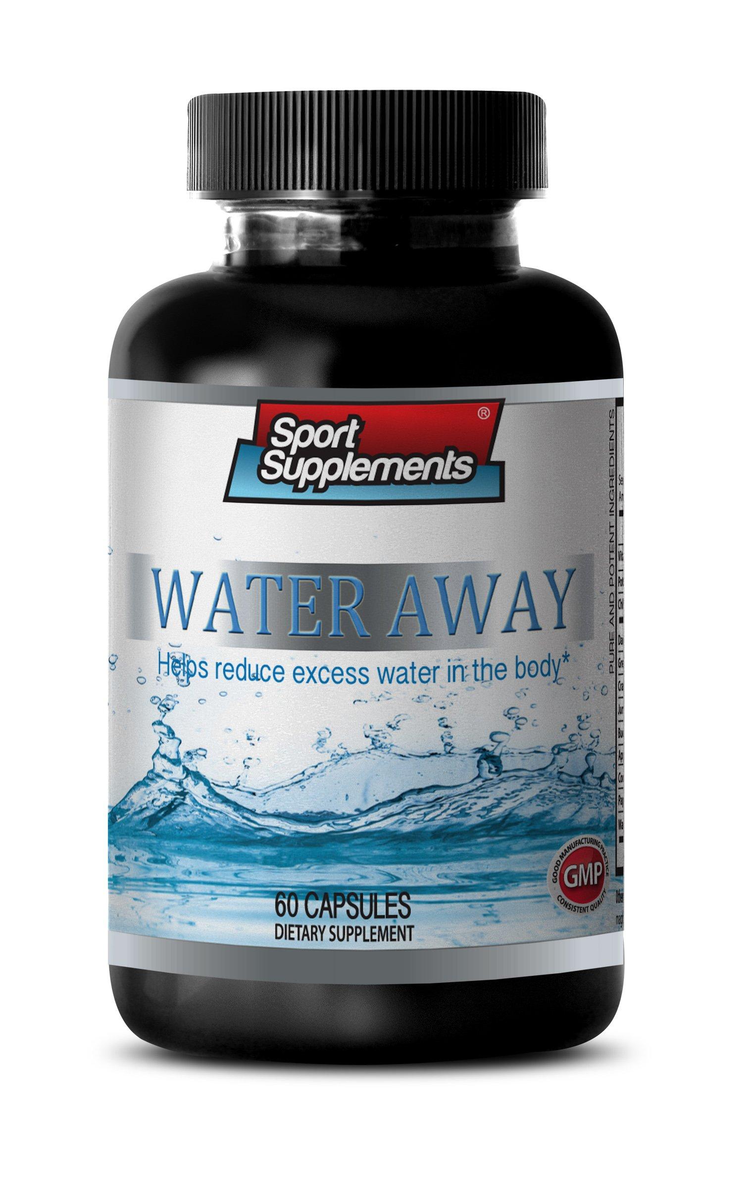 Anti bloating pills - WATER AWAY NATURAL DIURETIC COMPLEX - Potassium Dietary Supplement - 1 Bottle 60 Capsules