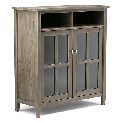 Simpli Home Warm Shaker Solid Wood Medium Storage Media Cabinet, Distressed  Grey