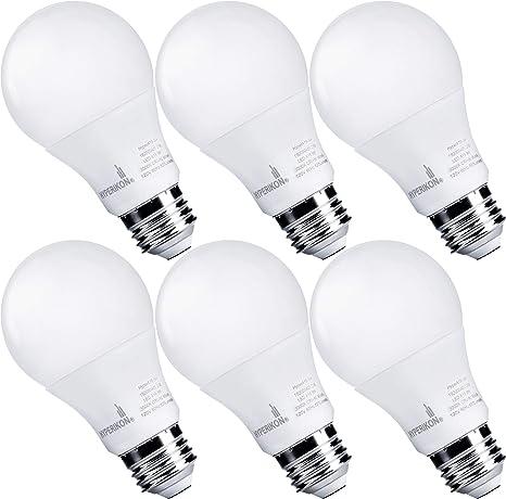Hyperikon Dimmable Led Light Bulbs A19 60 Watt Equivalent Led Bulbs 9w 3000k E26 Ul 6 Pack