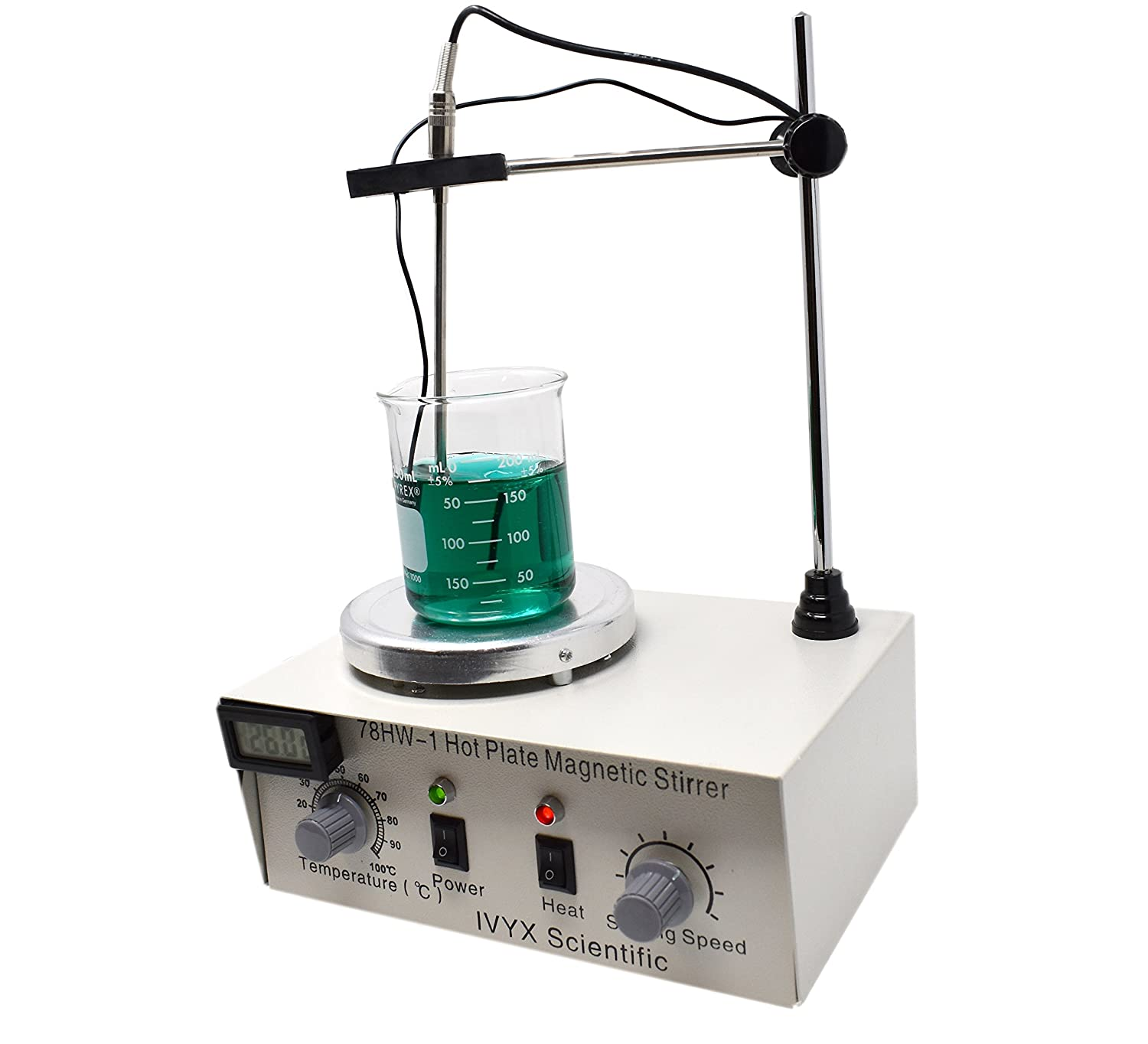 Hot Plate Magnetic Stirrer, 15-1500 RPM, Variable Temperature up to 100C, 110V