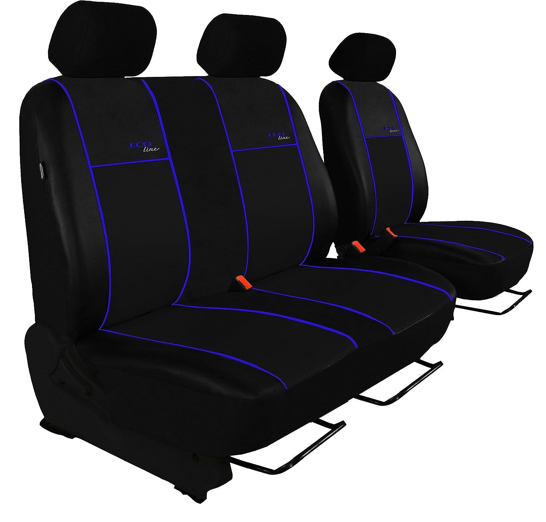 POK-TER BUS Autositzbezug Super Qualit/ät f/ür Bus und Transporter Fahrersitz + 2er Beifahrersitzbank Hier mit Blauer Lamelle Design Kunst-Line
