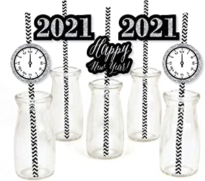 Big Dot of Happiness New Year's Eve - Silver Paper Straw Decor - 2021 Years Eve Party Striped Decorative Straws - Set of 24