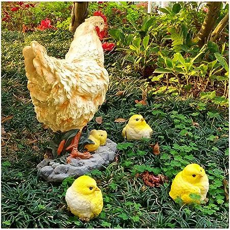 XUMING Adornos de jardín de gnomos,estatuilla de jardín al Aire Libre,Arte de Patio: Estatua de césped con Forma de gallina y Pollito,Decoraciones de paisajes de Animales para el hogar Aire Libre: Amazon.es: