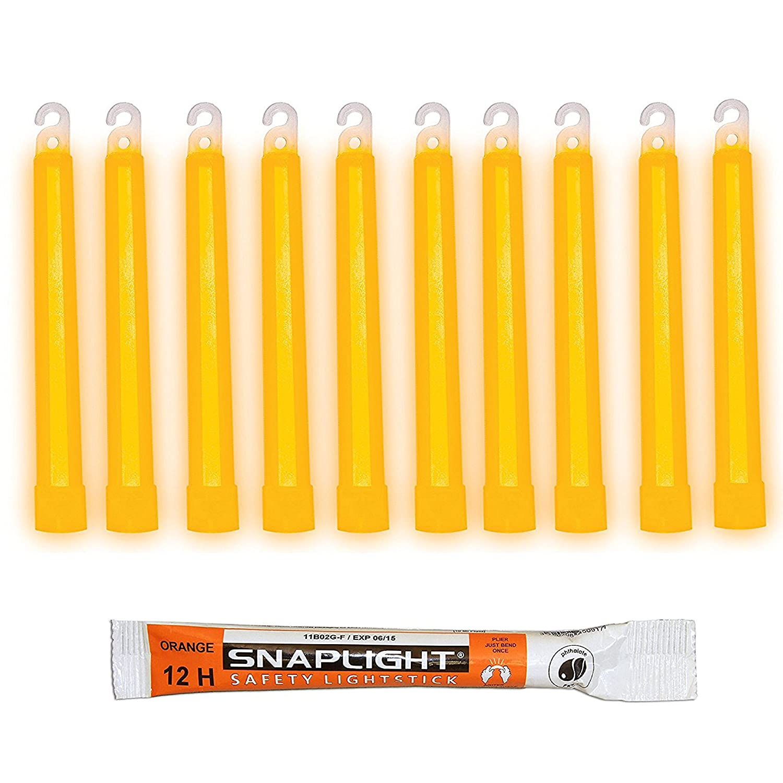 Cyalume SnapLight Orange Glow Sticks – 6 Inch Industrial Grade, Ultra Bright Light Sticks with 12 Hour Duration (Pack of 10) Cyalume Technologies SA8-108084AM