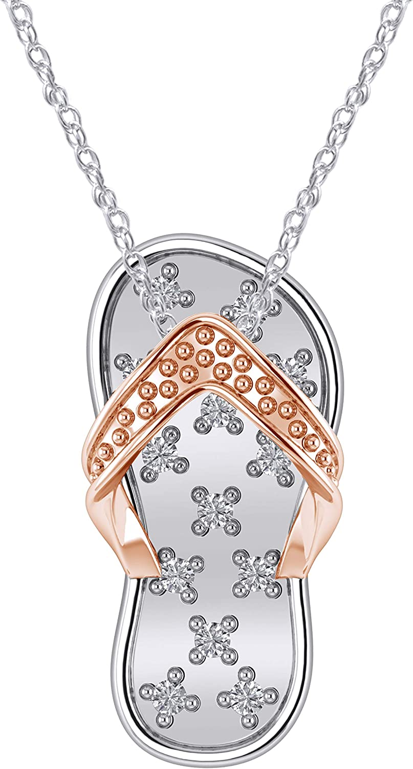 Jewel Zone US Natural Diamond Accent Flip Flop Pendant Necklace in 14K Gold Over Sterling Silver