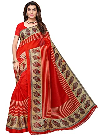 957a20a63d8 Ishin Poly Silk Red Printed Women s Saree With Blouse Piece  Amazon.in   Clothing   Accessories