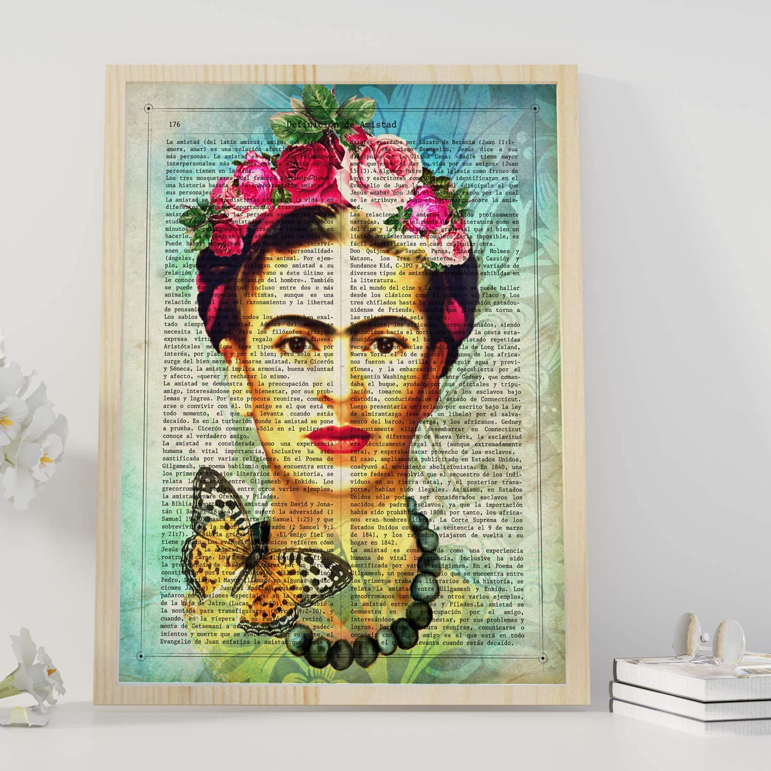 Nacnic Prints Frida Kahlo Definition of Friendship,The Mexican Painter -Tropical wall art, Mexican decorations for home , Mexican wall decor , Aztec art , Chicano art, Mexican Painter Set of 1 - Unframed 11x17 inch Size - 250g Paper - Beautiful Poster Painting for Home Office Living Room