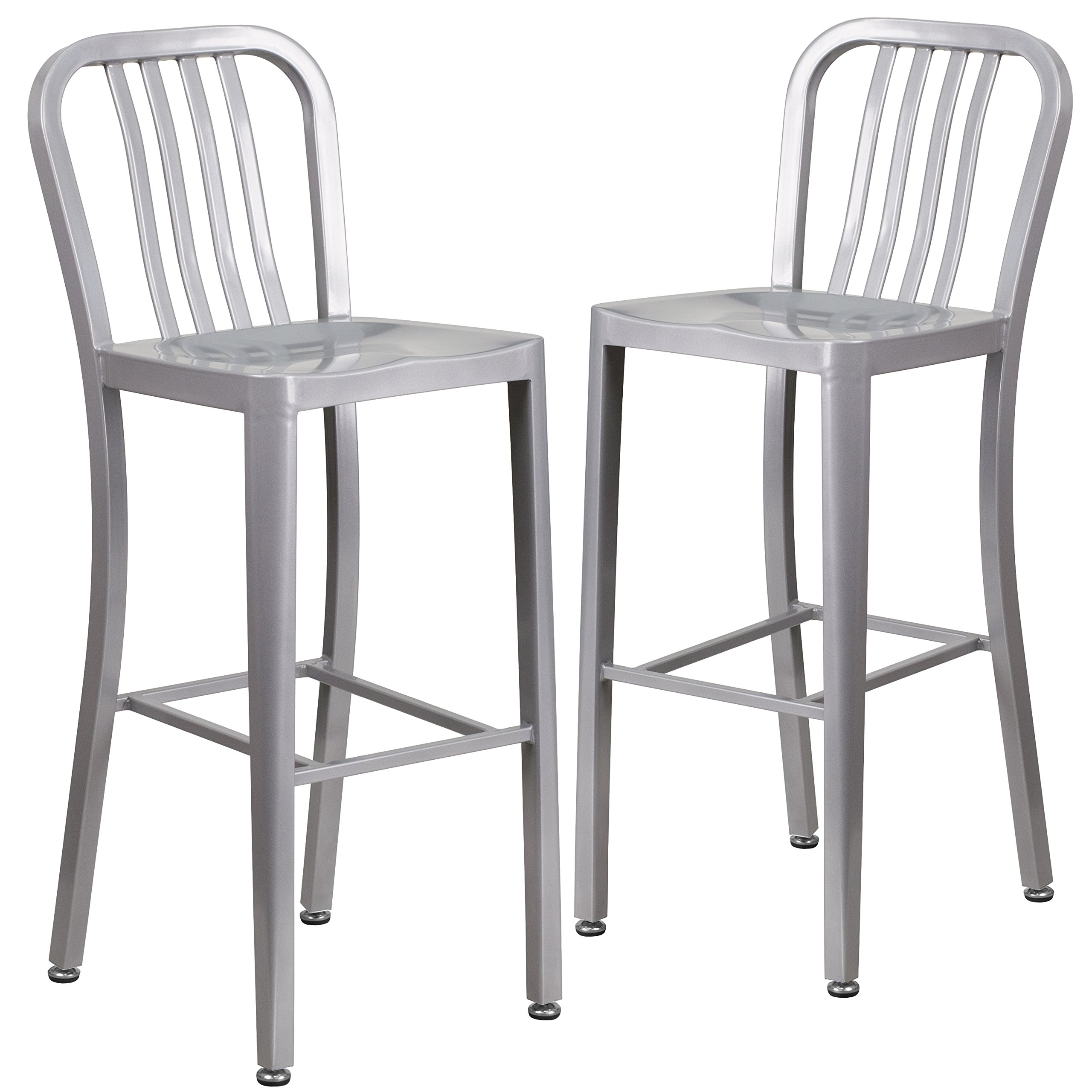 Flash Furniture 2 Pack 30'' High Silver Metal Indoor-Outdoor Barstool with Vertical Slat Back - 2-CH-61200-30-SIL-GG by Flash Furniture