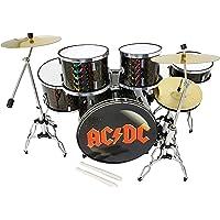 MINIATURA BATERÍA ACUSTICA NEGRO CROMADO MDR-0251 BOMBO AC-DC REGALO MUSICAL ESCALA 1:5 ROCKMUSIC