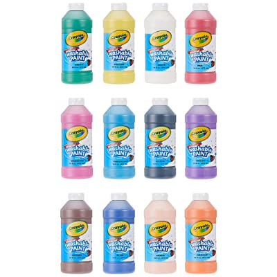 Crayola Washable Paint, Assorted, 16 oz., 12 per Set (549718), Pint: Toys & Games
