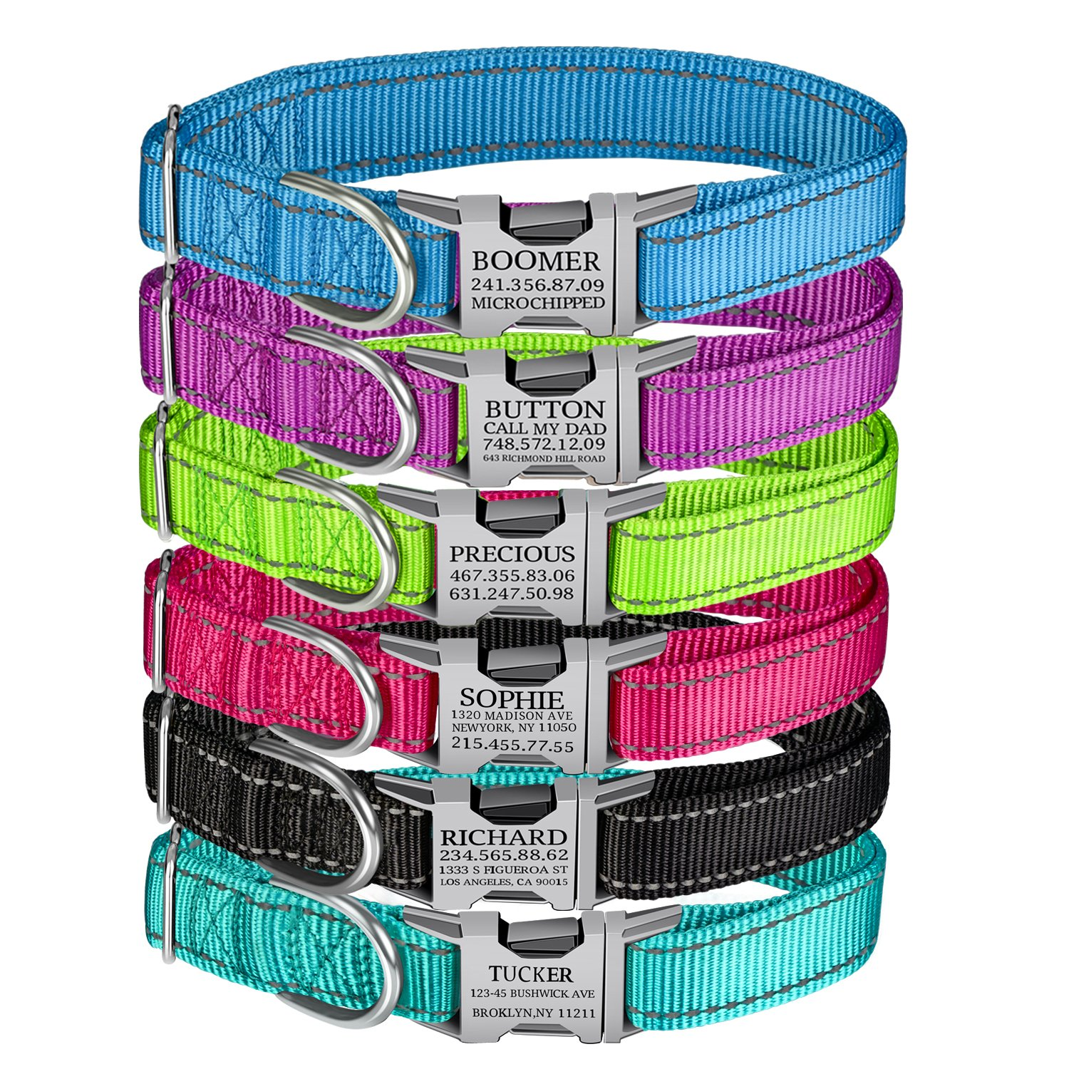 Custom Personalized Dog Collar Buckle Engraved with Pet Name & Phone Number for Small/Medium/Large Breed Dog -Nylon Webbing with 2 Reflective thread, 6 ColorsCustomized, Green)