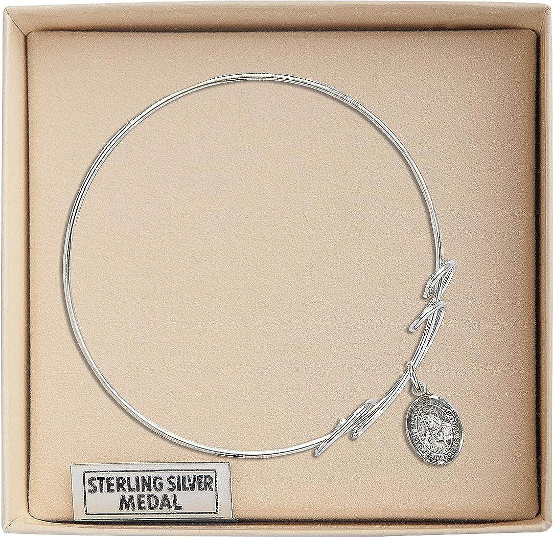 St Margaret Of Cortona Charm On A 7 1//2 Inch Round Double Loop Bangle Bracelet