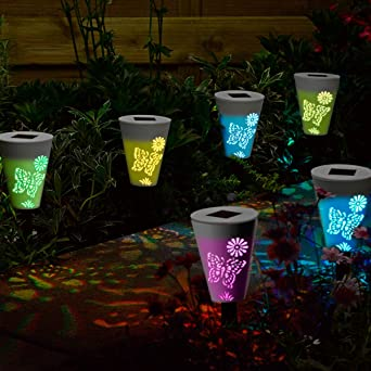 Lote de 6 lámparas solares para jardín – Iluminación led con siluetas de mariposas: Amazon.es: Iluminación