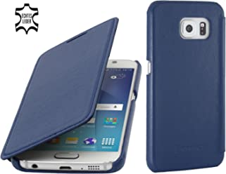 StilGut Book Type Case, Custodia in Pelle a Libro per Samsung Galaxy S6, Blu Notte