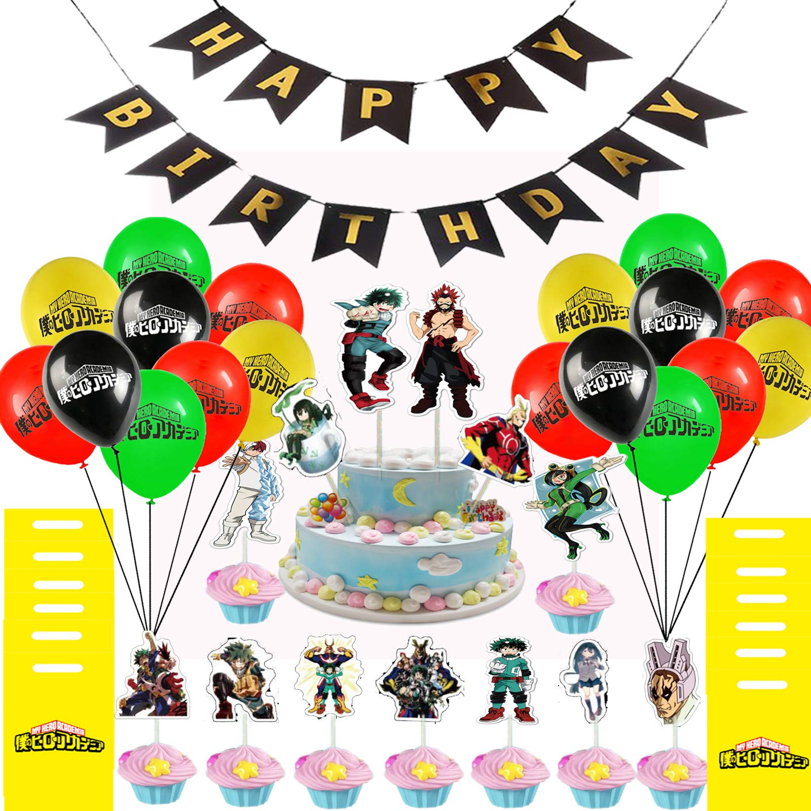 My Hero Academia Balloon Banner Cake Toppers Party Bags Set, 103 Pack MHA Party Supplies - 1 Banner, 40 Balloons, 12 Party Candy Bags, 50 Cake Toppers for MHA Fans