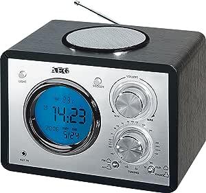 AEG MR 4104 - Radio clásica (sintonizador UKW-/MW, hora en LCD, función despertador, antena telescópica, altavoz, termómetro) color negro