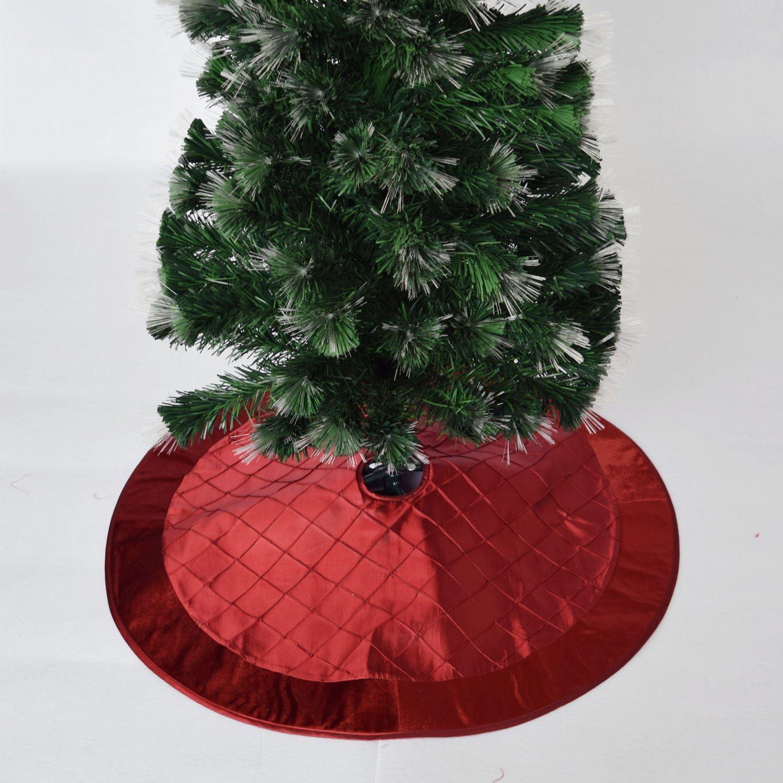 """NEW Red Christmas 48/"""" Quilted Velvet Tree Skirt w Silver Sequins /& Velvet Border"""