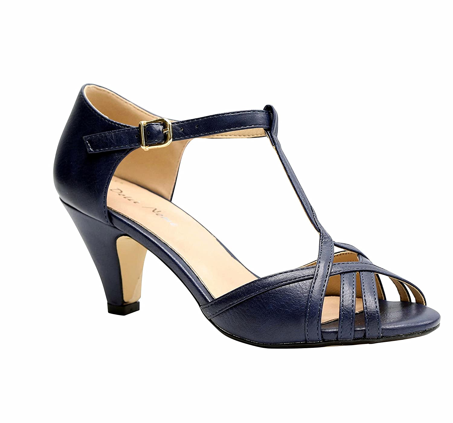 Dolce Nome Open Toe Heels Women's Designer Shoes Italian Style Well Constructed Ladies Fancy Shoes B07BXZG3C1 4 B(M) US|Navy