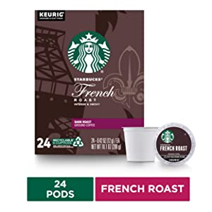 Starbucks French Roast Coffee K-Cup Pods | Dark Roast | Coffee Pods for Keurig Brewers | 1 Box (24 Pods)