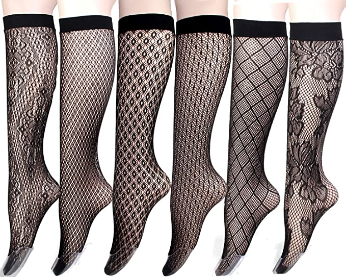 a7ad0e0bccd21 Women's Stay Up Knee High Patterned Trouser Socks Fishnet Stockings Black 6  Pairs (6pairs-
