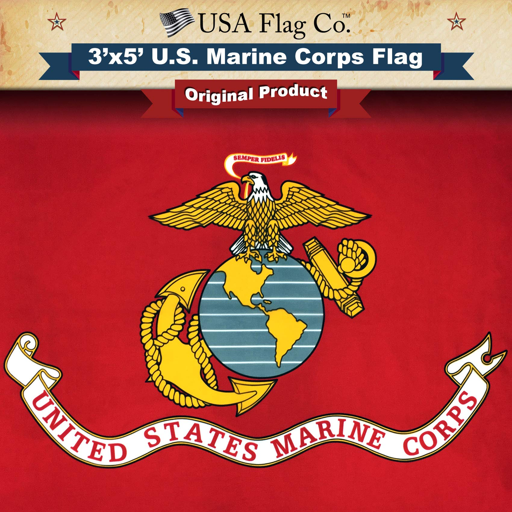 USA Flag Co. Marine Corps Flag is 100% American Made: The Best 3x5 Outdoor USMC Flag, Made in The USA for Prime Members and Amazon A to Z Guarantee. (3 by 5 Foot) by USA Flag Co.