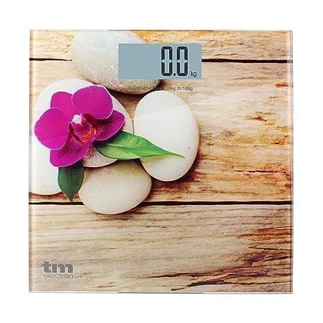 TM Electron TMPBS014 - Báscula de Baño Zen de Cristal, Color Madera - 161 gr