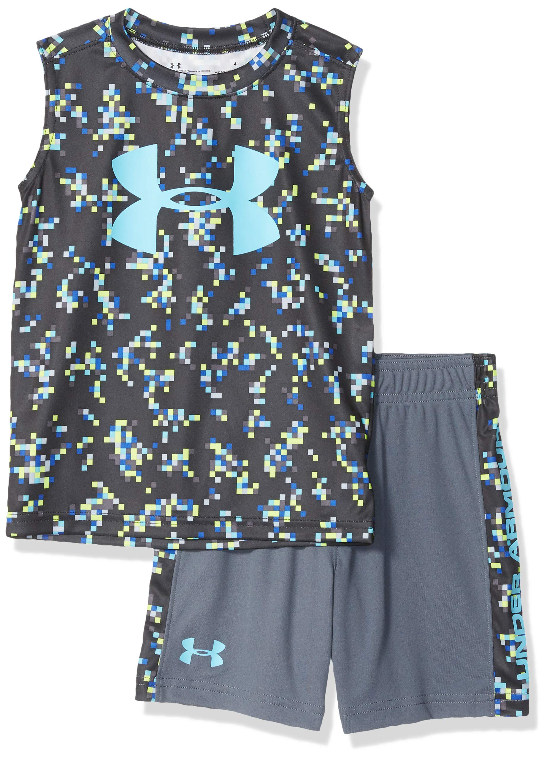 Under Armour Boys' Baby UA Muscle Tank and Short Set, Black-S192, 18M