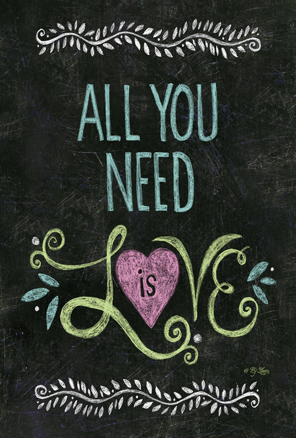 Toland Home Garden All You Need Is Love Chalkboard 12.5 x 18 Inch Decorative Inspirational Double Sided Garden Flag