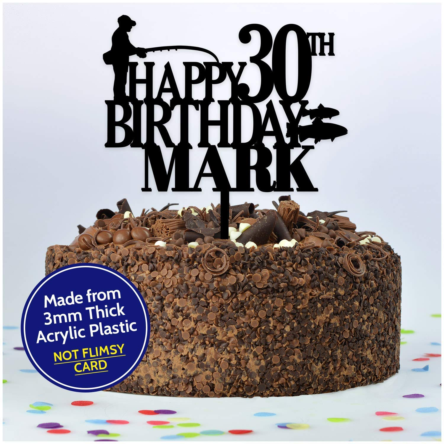 Amazing Fishing Birthday Cake Topper Personalised Fisherman Any Age Any Funny Birthday Cards Online Elaedamsfinfo