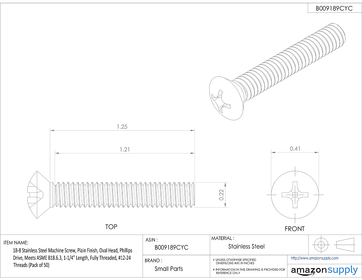 1-1//4 Length #12-24 UNC Threads Oval Head Meets ASME B18.6.3 18-8 Stainless Steel Machine Screw Phillips Drive Fully Threaded Plain Finish Pack of 50