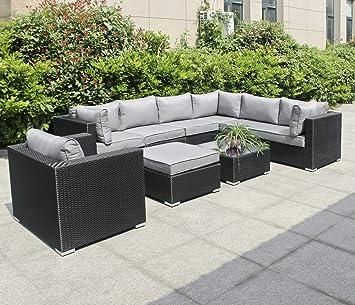 Amazon.de: Hansson Polyrattan Lounge Sitzgruppe Gartenmöbel Garnitur ...