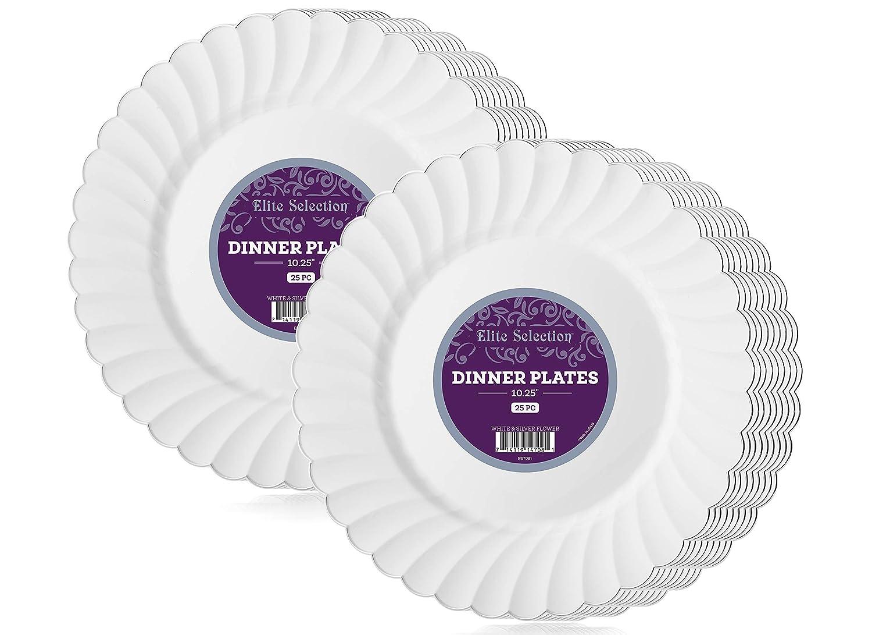 Elite Selection - Juego de 50 platos de plástico desechables para fiesta, color blanco con borde plateado de flor (10,25 en borde plateado): Amazon.es: ...