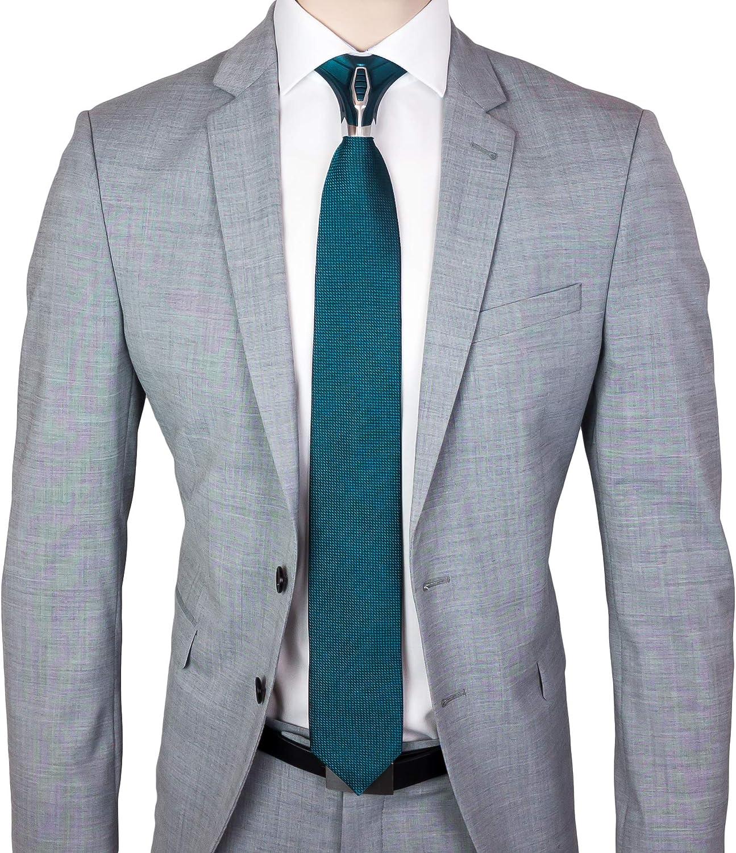 BARBATTIE Corbata de diseño, color azul petróleo, plata, diseño ...