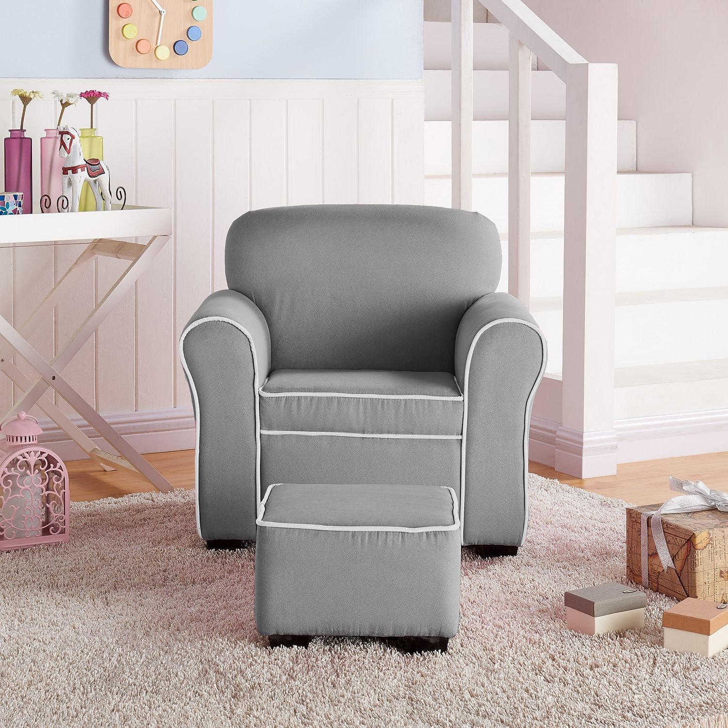 Member's Mark Kids' Chair and Ottoman, Gray