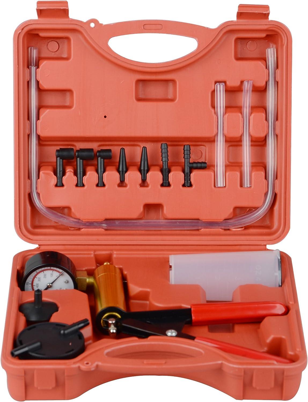 DA YUAN Hand Held Vacuum Pump Brake Pump Tester Set Vacuum Gauge and Brake Bleeder Kit for Automotive with Adapters Case Metal Handle