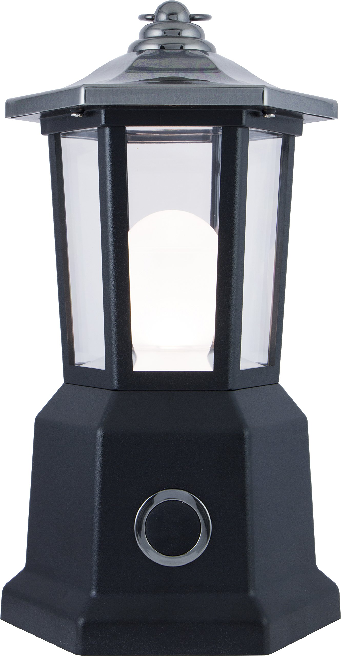 Enbrighten 11921 LED Patio Carriage Lantern, Battery Operated, Brushed Nickel Finish, Contemporary Design, 150 Lumens, Water Resistant