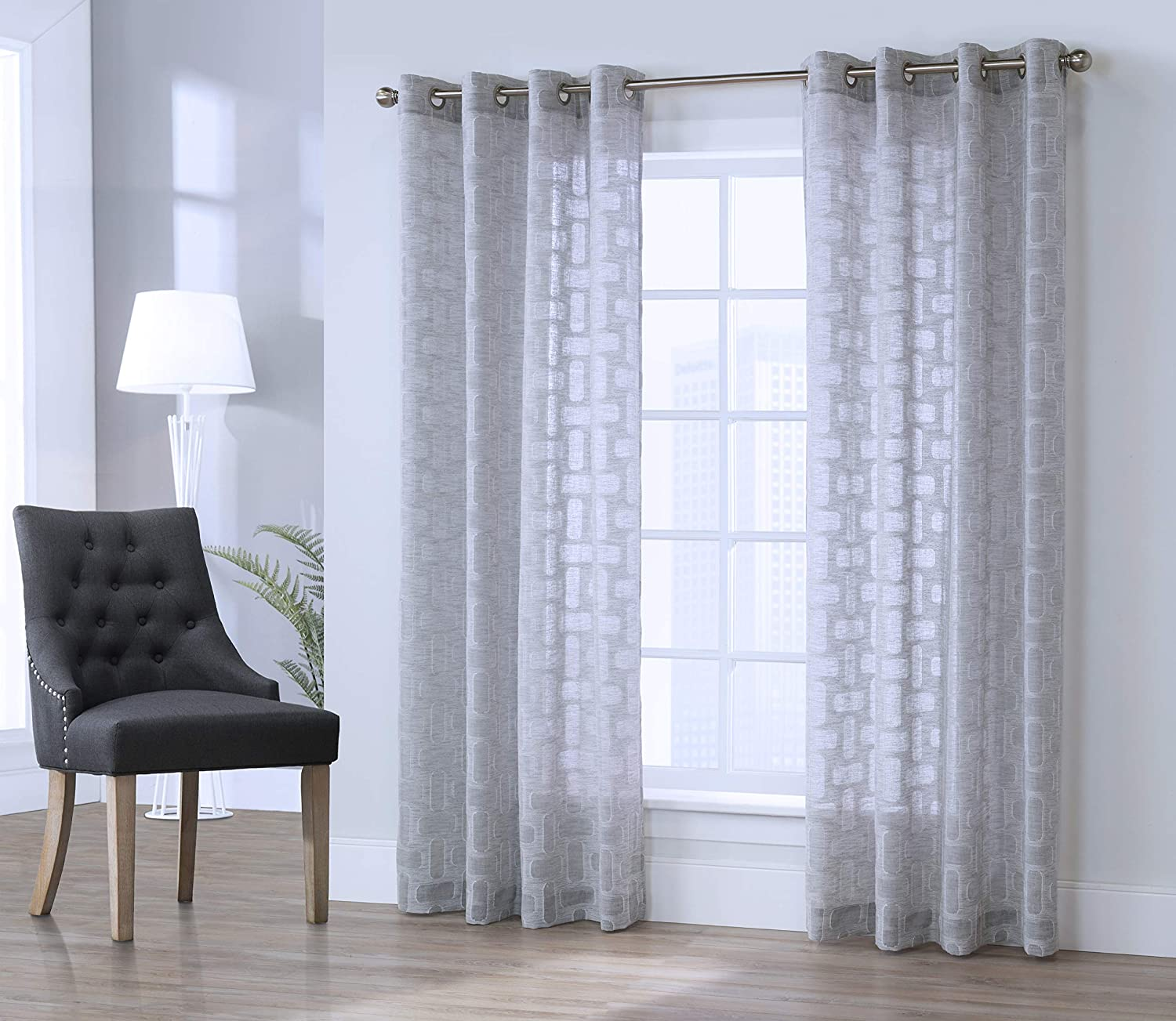 Commonwealth Home Fashions Voltaire, 84, Grey Window Curtain Panel, 50x84