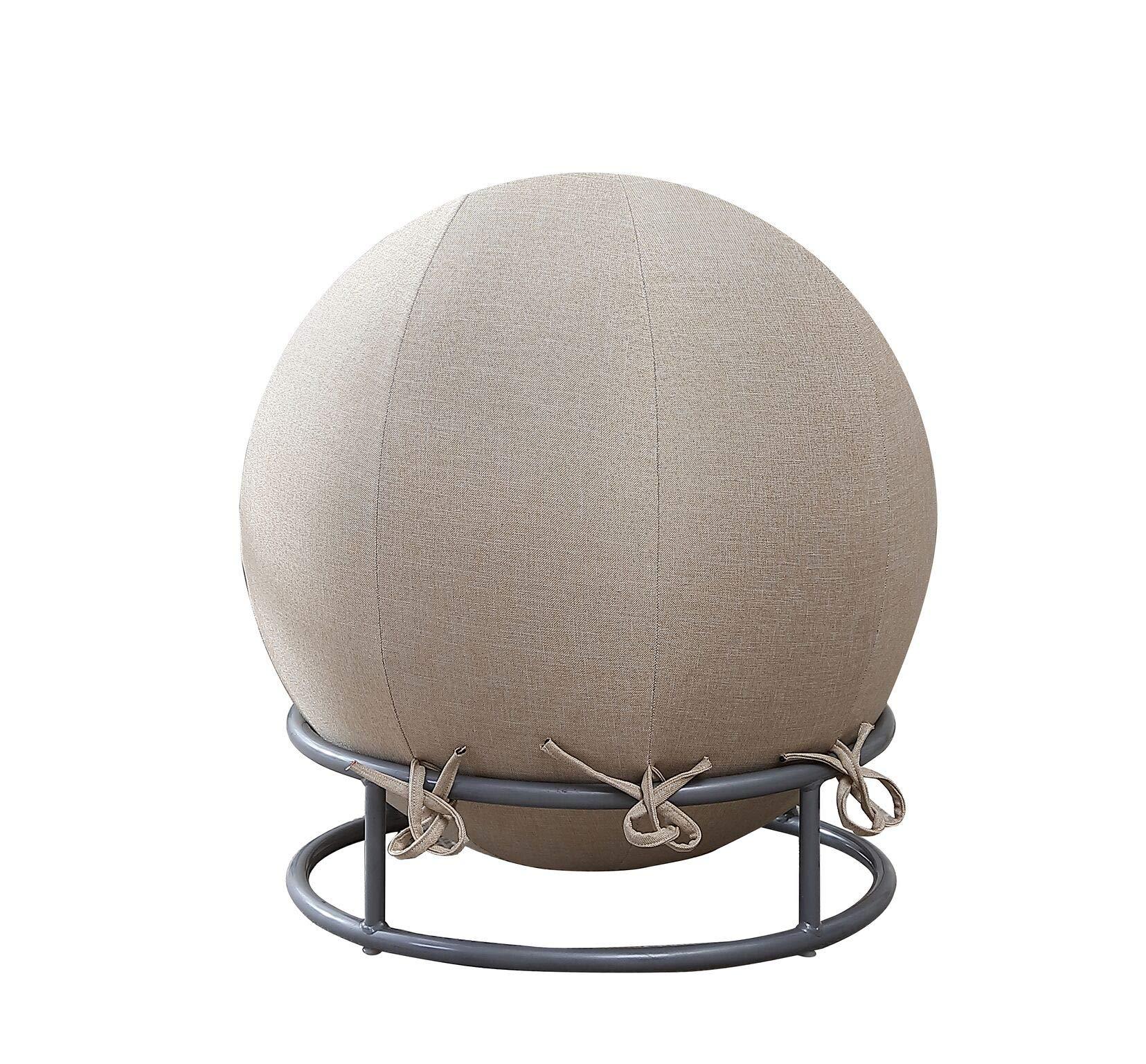 GoodGram Premium Posture Denim Fabric Yoga Exercise Balance Ball & Chair Set - Assorted Colors (Denim Linen)